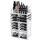 Display4top Caja acrílica Estante de maquillajes Maquillaje Cosméticos Joyería...