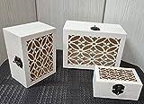 Set de 3 cajas de madera tallada para joyas, Joyero neceser Organizador de Joyas con 1...